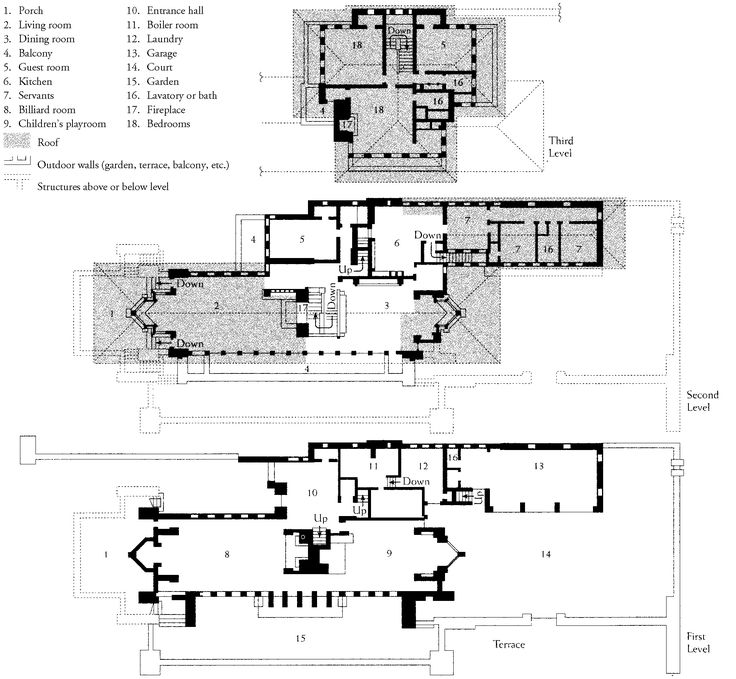 FRANK LLOYD WRIGHT, plan of the Robie House, Chicago
