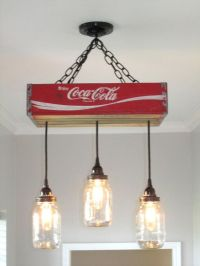 Coca Cola Chandelier/Ceiling Light with Mason Jars- Red ...