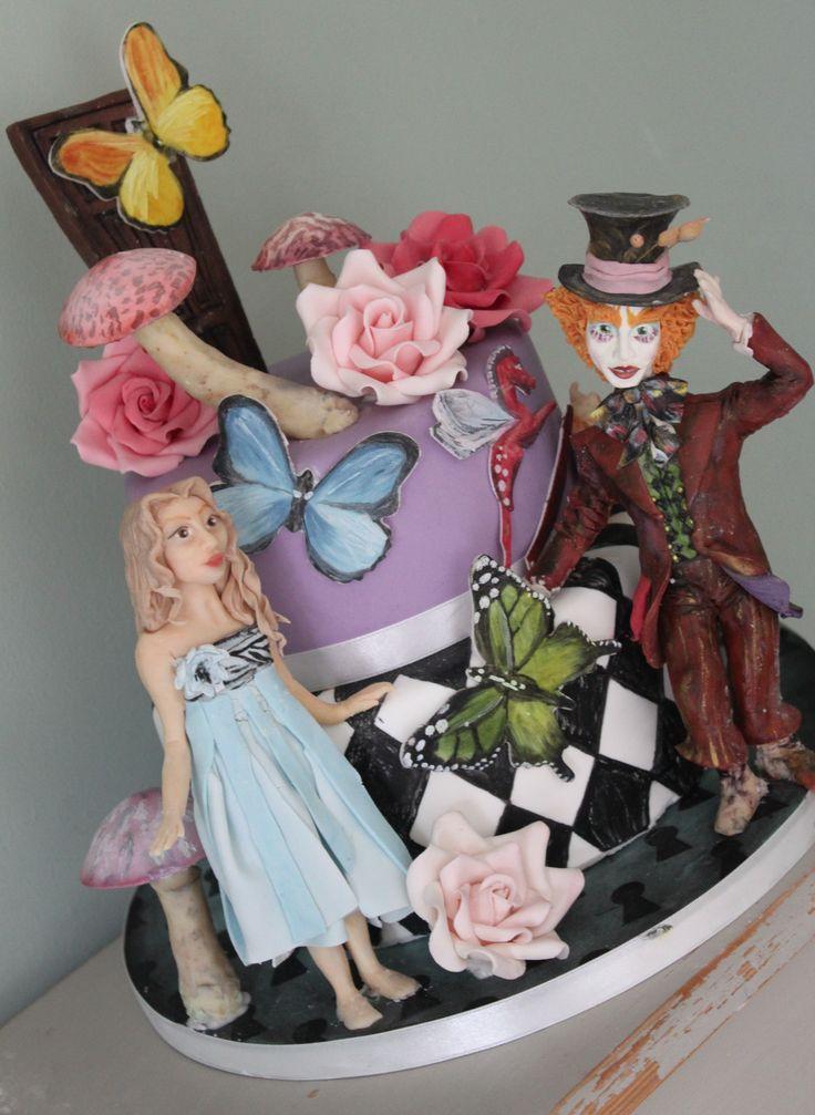 Alice in Wonderland tiered cake Tim Burton Alice Disney Cake  Alice in Wonderland Party