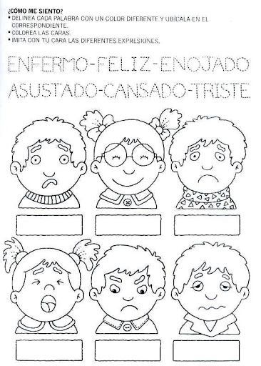 dibujo de expresiones de emociones y sentimientos para