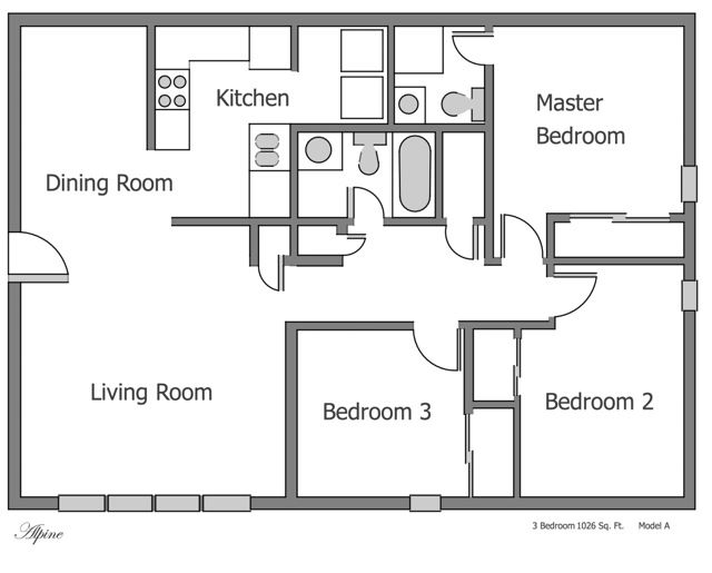 plain-3-bedroom-apartment-floor-plans-on-apartments-with
