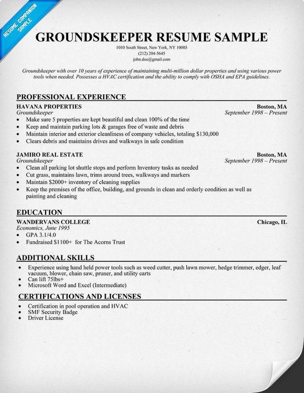 Groundskeeper Resume Example Resumecompanion Com