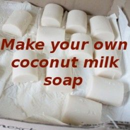 Recipe for easy-to-make coconut milk soap. This recipe will produce a soothing, healing and moisturising soap ideal for sensitive