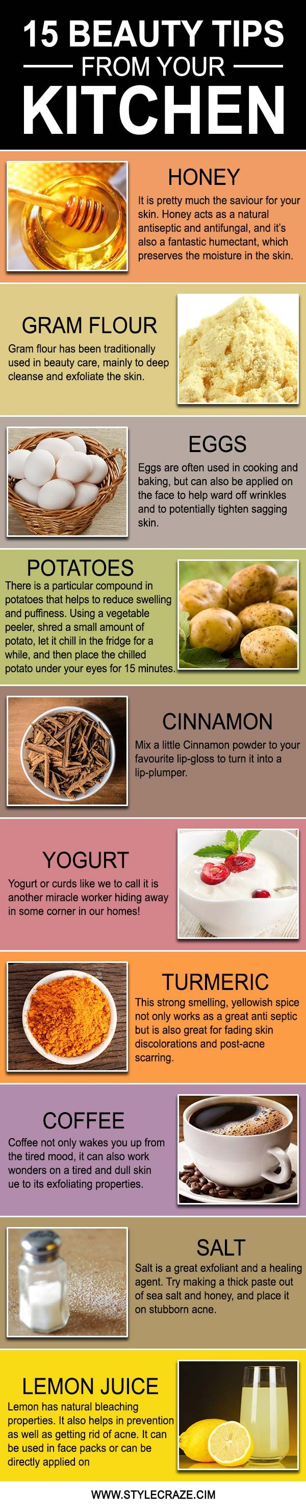 15 Beauty Tips From Your Kitchen  Count Beauty tips for face and Beauty tips