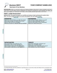 This Business SWOT Analysis Worksheet provides top-notch ...