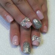 wedding nails withrinestone bows