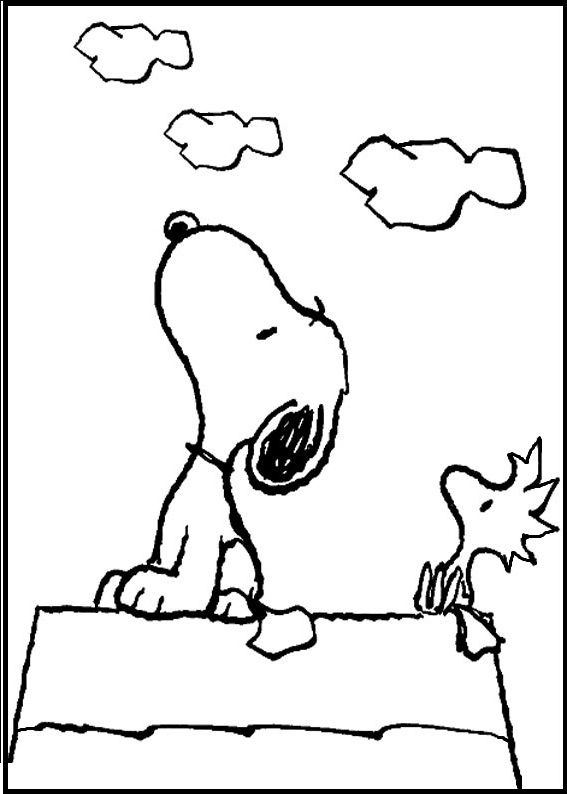 Snoopy and Woodstock Looking Cloud coloring picture for