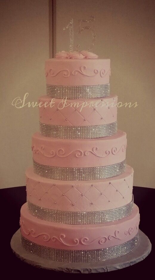 15th birthday or quinceanera pink cake with some bling used for a Paris themed birthday