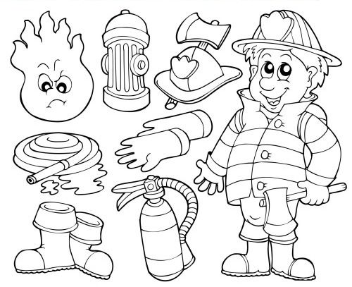 Firemen, Coloring worksheets and Firefighters on Pinterest