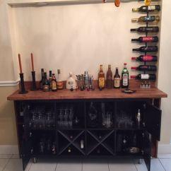 Living Room Shelving Unit Glass Shelves Added Ikea Doors, Wine Holder To Kallax ...