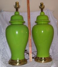 Vintage 1970's Ceramic Bright Green Ginger Jar Lamps