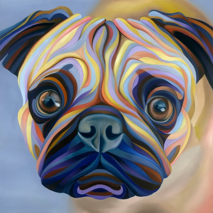 A cute colorful pug painting by Kate Hoyer  Art Wise