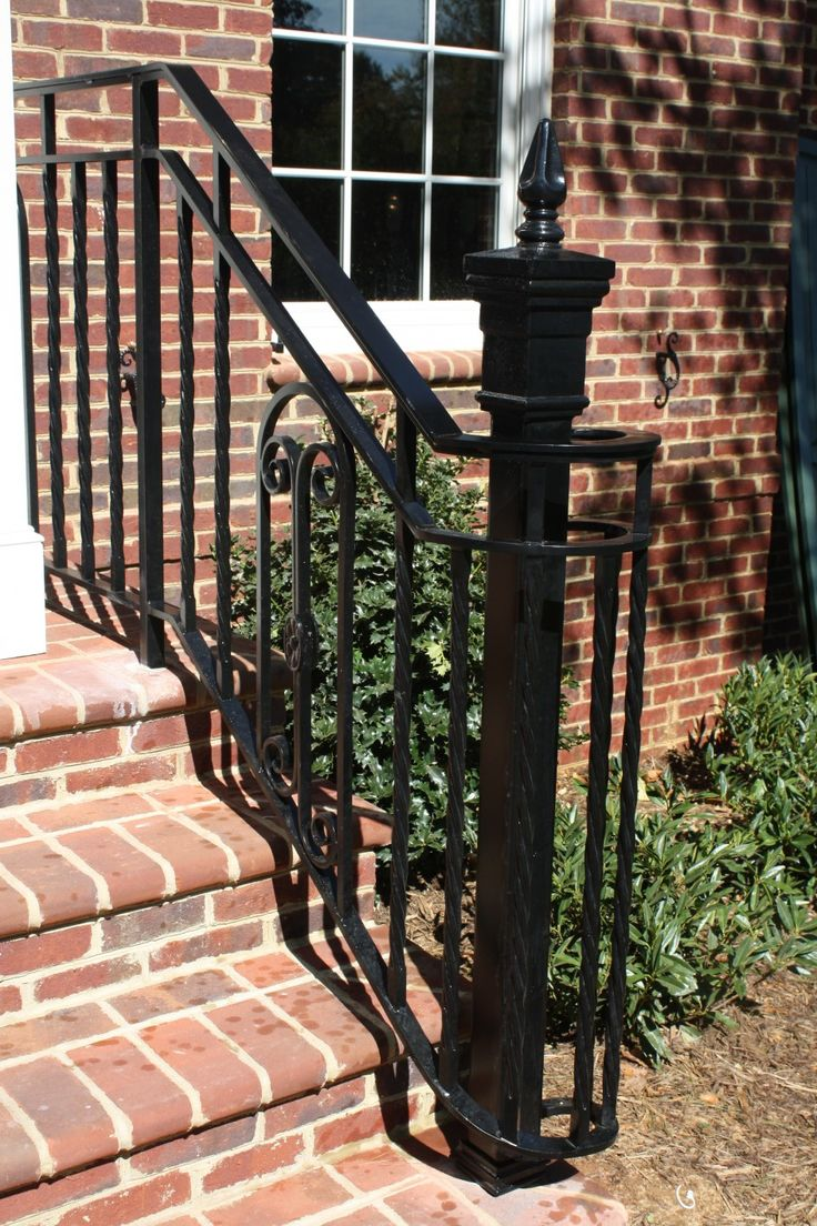 Exterior Small Black Metal Exterior Stairs For Porch With