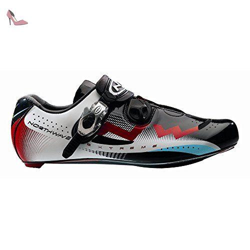 northwave extreme tech de course chaussures de velo noir blanc rouge