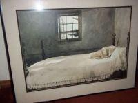 Master Bedroom Art Print by Andrew Wyeth Framed Glass Dog Bed