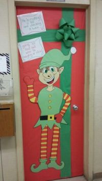 Elf and present school door decoration