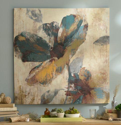 Abstract Aqua  Brown Floral Canvas Art Print  Brown floral and Aqua