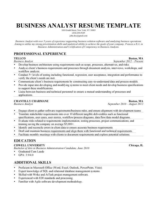 business analyst resume example - Financial Analyst Resume Example