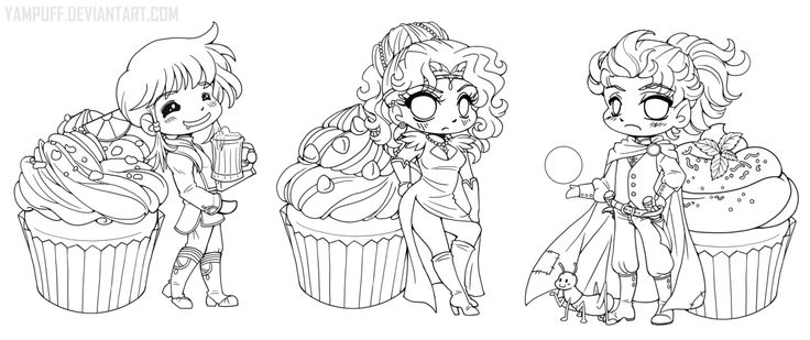 Cookbook Chibi Linearts :Commission:: by YamPuff