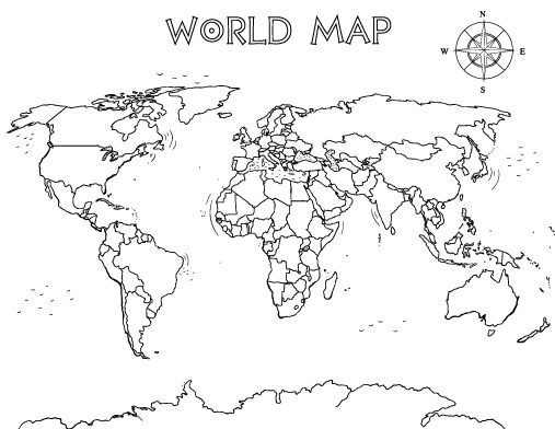 Printable world map coloring page. Free PDF download at