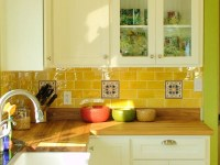 love: white cabinets, end one with glass panes; yellow ...