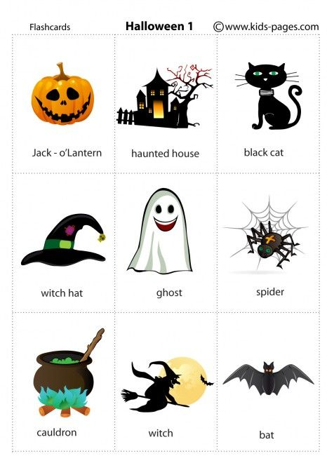 Halloween 1 Flashcards  Anglais  Planches De Vocabulaire  Pinterest  Kids Pages, Halloween 1