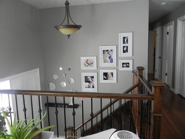 bilevel entry split entry staircase stairwell stairs decor picture frame layout  Home