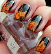 Fire nail art - BLACK nail polish with orange and yellow ...