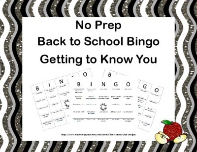 Back to School Bingo-Getting to Know You-No Prep from Mrs