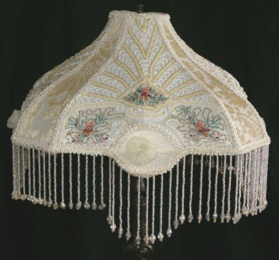 Victorian Beaded Embroidered Embroidery Boudoir Table Lamp