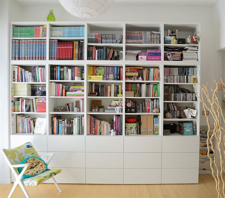 Colourful books in a simple white BEST bookcase  Dianas