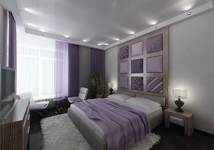 purple white gray (taupe?) bedroom