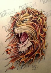 lion's head with flames tattoo