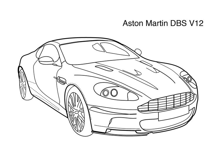 Super car Aston martin DBS v12 coloring page for kids 4