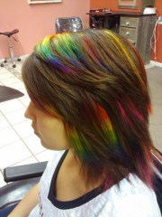rainbow peekaboo love hair