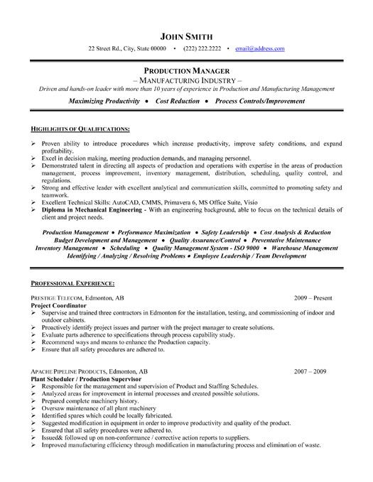 Example Of Project Manager Resume