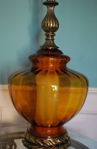 VTG Hollywood Regency Amber Globe Table Lamp Optic Glass