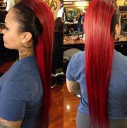 red and black dyed hair love