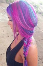pink purple hair braid style