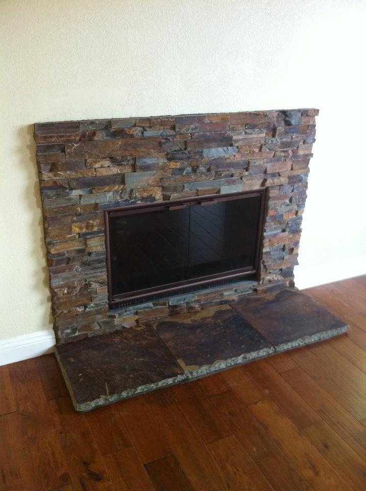 Sweet Stacked Slate fireplace  living room  Pinterest  Fireplaces Rustic and I love