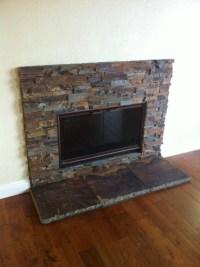Sweet Stacked Slate fireplace | living room | Pinterest ...