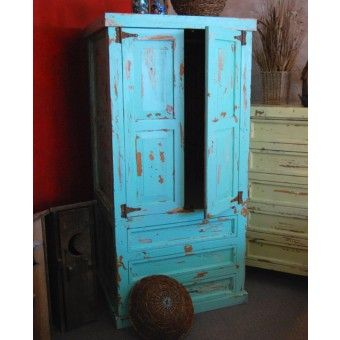 Back Country Weathered Finish Wardrobe Armoire In