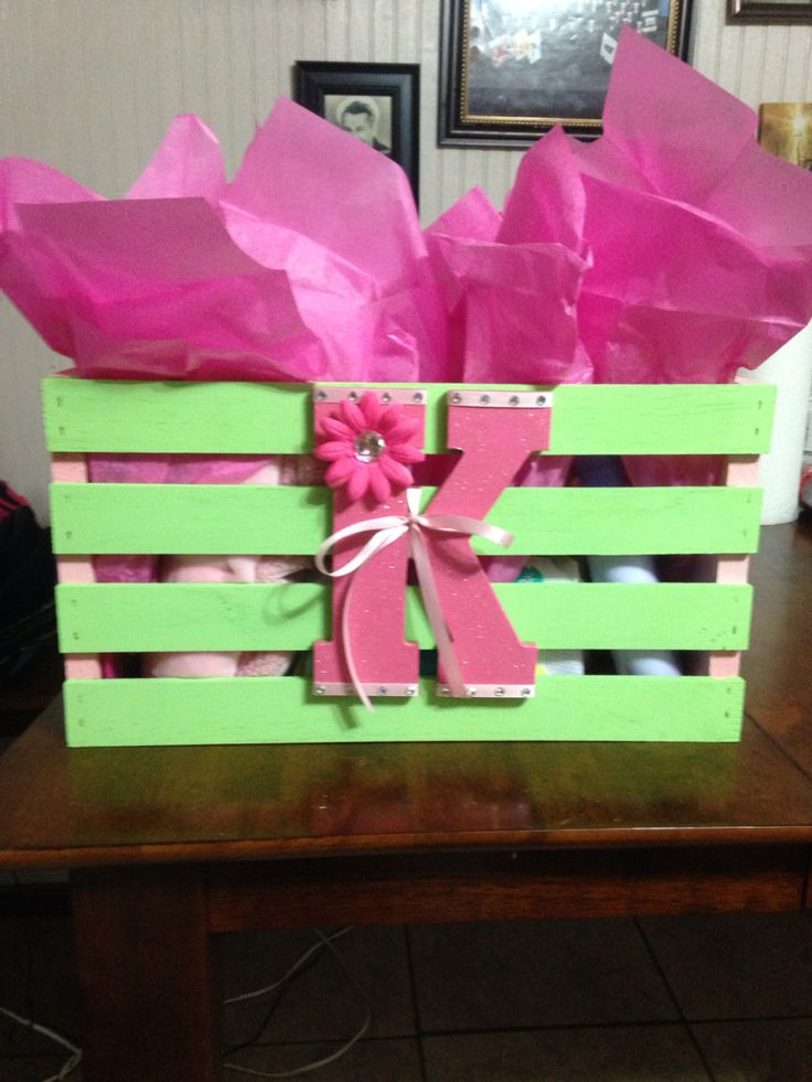 Baby shower gift Crate from Walmart painted to match