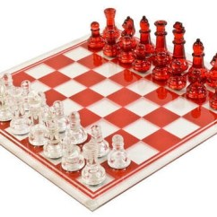 5 Piece Kitchen Table Sets Cabinets Kansas City Large Glass Chess Set, Clear & Red - For The ...