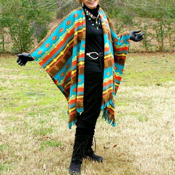 Southwestern Santa Fe Native Design Fleece Shawl, Poncho