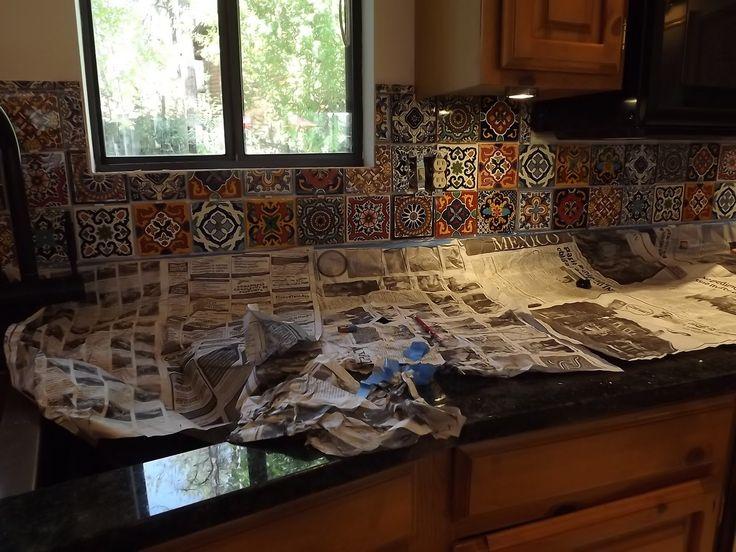 Mexican Tile Kitchen Backsplash DIY  How to do stuff