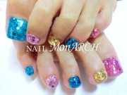 cute colorful toe nail design
