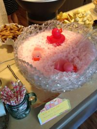 Girl baby shower pink rubber ducky bubble bath punch ...