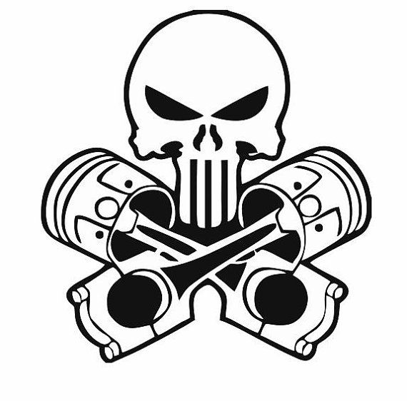 Skull and Pistons Decal for Car and Home: Skull Decals