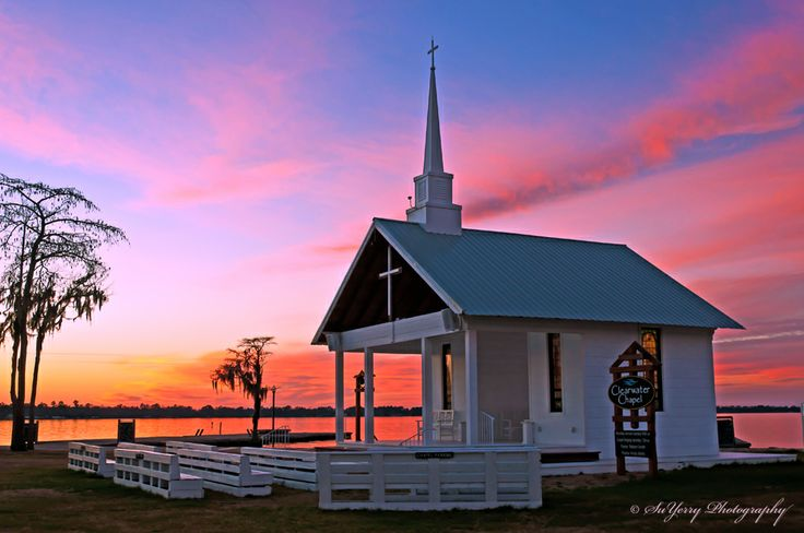 Sunset over Camp Clearwater Chapel at White Lake NC https
